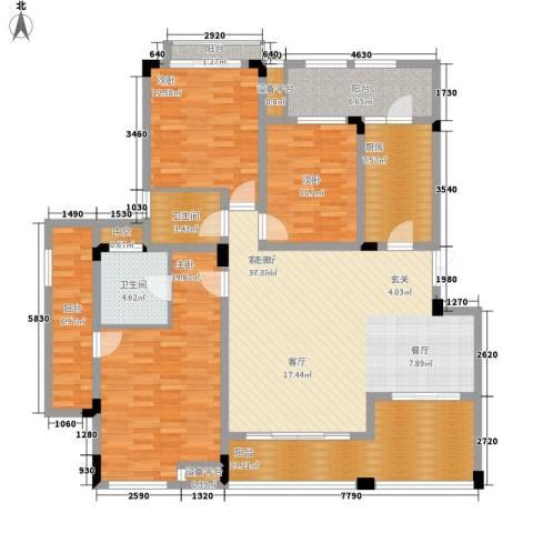 广厦城洛卡庄园3室1厅2卫1厨124.78㎡户型图