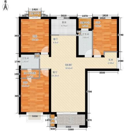众美凤凰绿都3室1厅2卫1厨127.00㎡户型图