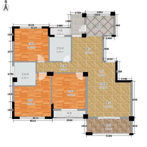 江湾华庭3室0厅2卫1厨127.20㎡户型图