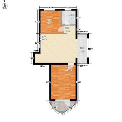 东湾假日2室1厅1卫0厨86.00㎡户型图