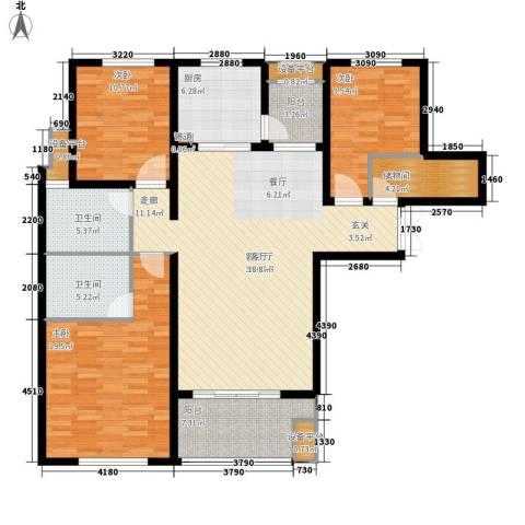 邦泰中央花城3室1厅2卫1厨130.00㎡户型图