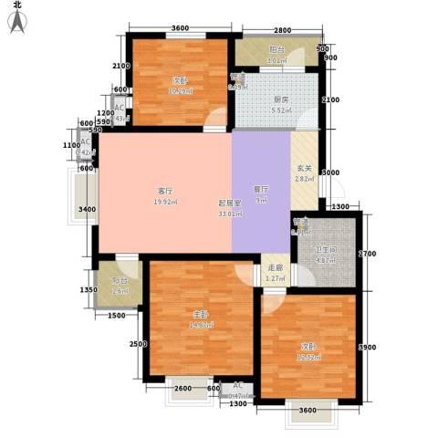 第六田园优仕家园3室0厅1卫1厨126.00㎡户型图