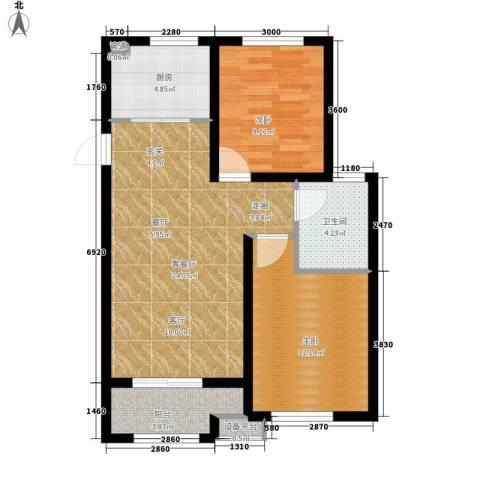 宏泰·美树2室1厅1卫1厨85.00㎡户型图