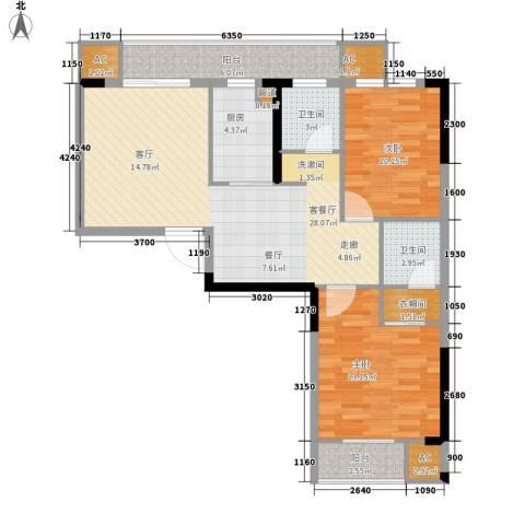 爱佳7982室1厅2卫1厨86.00㎡户型图