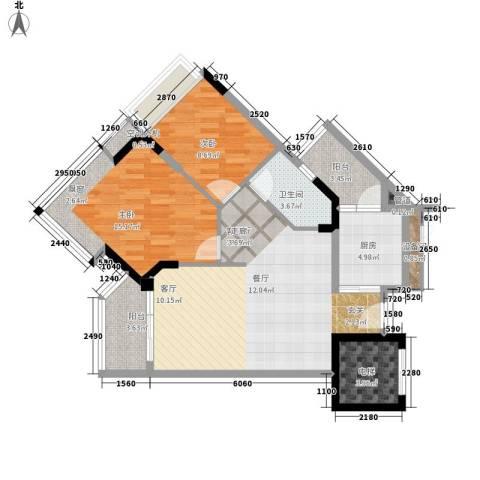 广州雅居乐花园时光九篇2室1厅1卫1厨81.00㎡户型图