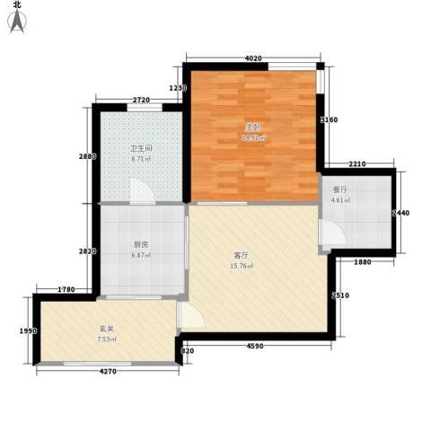 紫雁朗庭1室2厅1卫1厨94.00㎡户型图