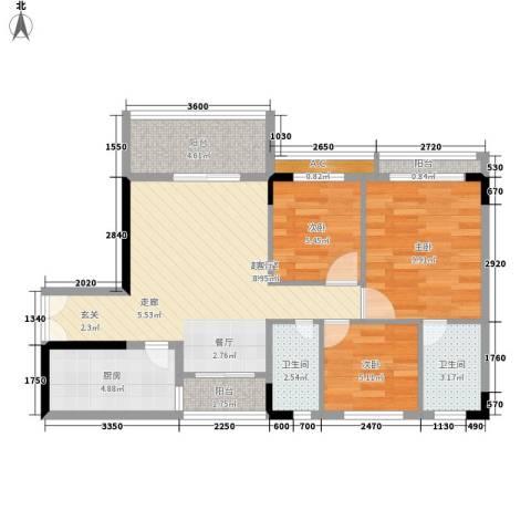 喜盈雅境3室0厅2卫1厨68.00㎡户型图