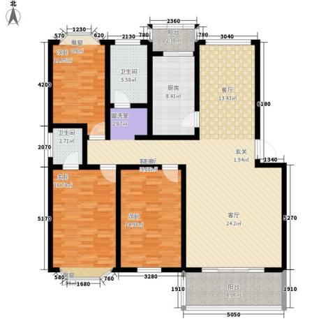 三香苑3室1厅2卫1厨174.00㎡户型图