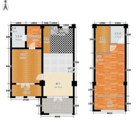 一杯澜2室1厅2卫0厨105.89㎡户型图