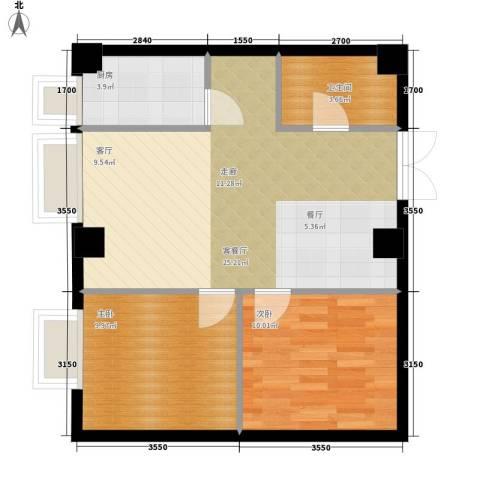 西郊三村2室1厅1卫1厨65.00㎡户型图