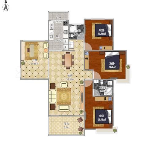 东方今典4室1厅2卫1厨135.00㎡户型图