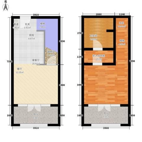 一杯澜1室1厅1卫0厨80.00㎡户型图