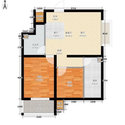 盛华苑二期2室1厅1卫1厨91.00㎡户型图