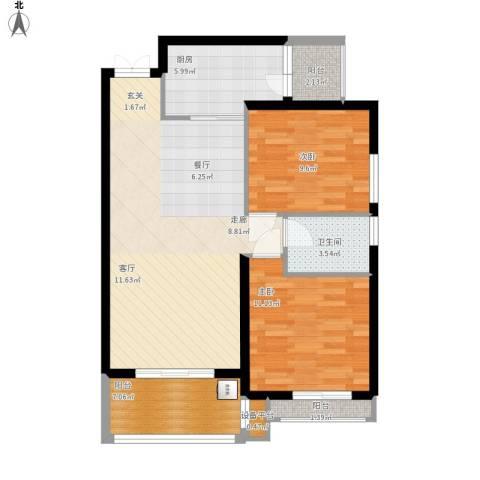 金色世家2室1厅1卫1厨98.00㎡户型图