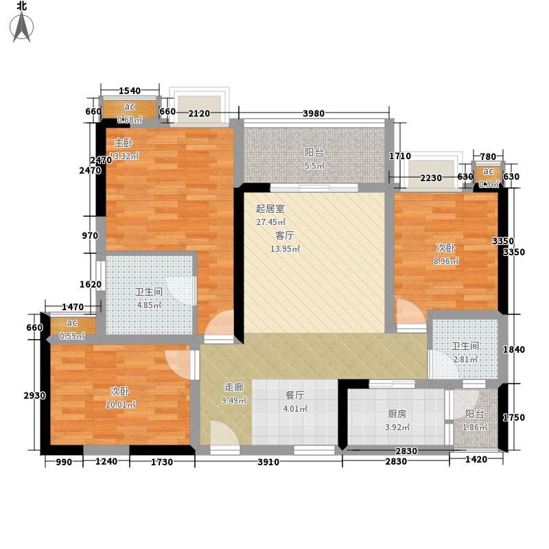 上品十六凌峰85.58㎡四期15号楼标准层E4户型