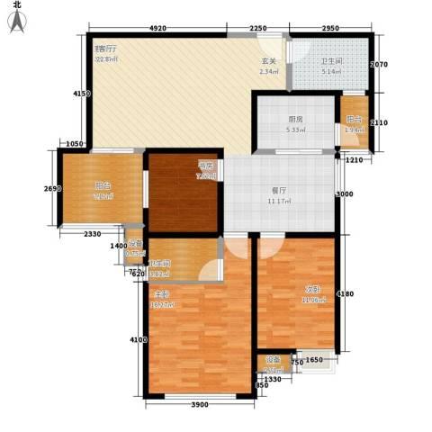 高科尚都3室1厅2卫1厨95.51㎡户型图