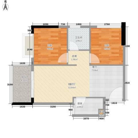 滨江公馆幸福ID2室1厅1卫1厨55.00㎡户型图