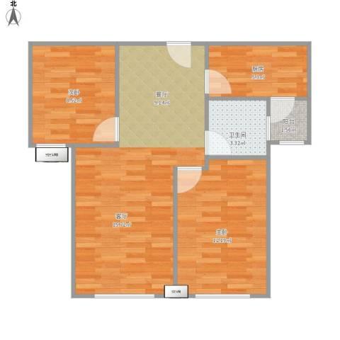 中铁城锦南汇2室1厅1卫1厨75.00㎡户型图