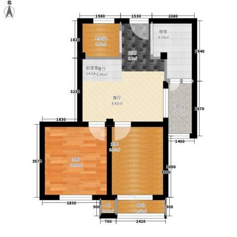 明珠花苑2室0厅1卫1厨67.00㎡户型图