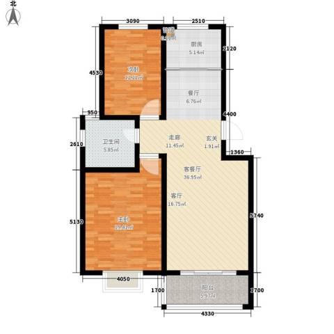 逸景和公馆2室1厅1卫1厨97.00㎡户型图