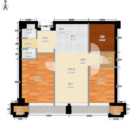 安装公司家属院3室0厅2卫0厨77.00㎡户型图