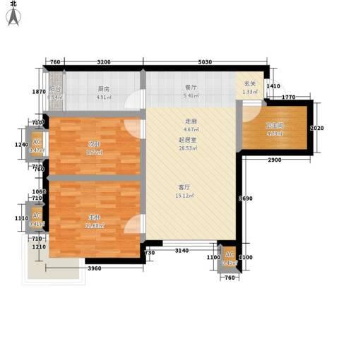 富贵嘉园2室0厅1卫1厨86.00㎡户型图