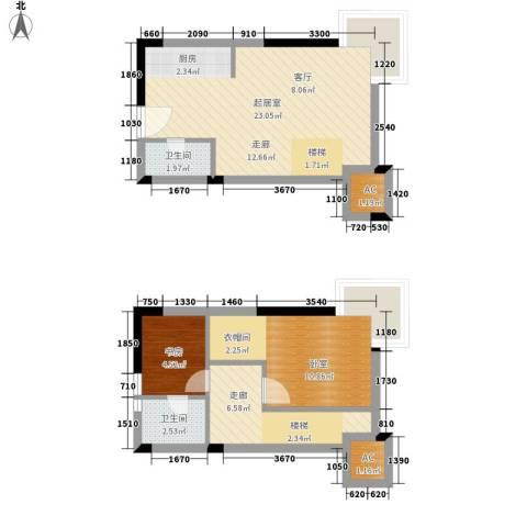 上榀坐1室0厅2卫0厨51.85㎡户型图