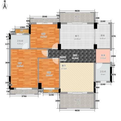 湖南省交通设计院单位房3室0厅2卫1厨121.54㎡户型图