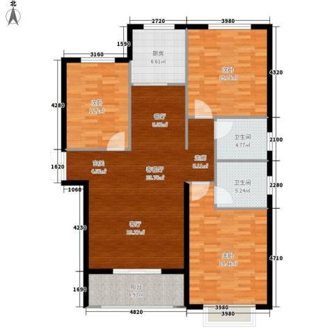 锦绣江南3室1厅2卫1厨151.00㎡户型图