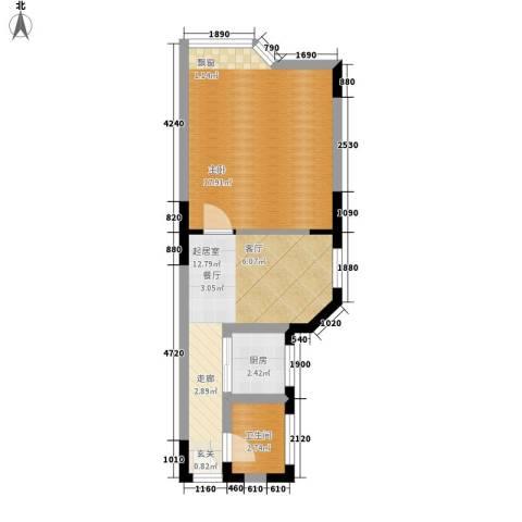西亚怡顺佳苑1室0厅1卫1厨42.00㎡户型图