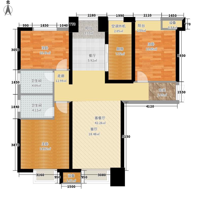 金融街融御141.00㎡高层标准层E户型3室2厅