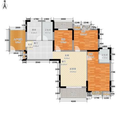 古田电信小区3室0厅2卫1厨104.98㎡户型图