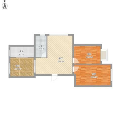 舒雅名苑2室2厅1卫1厨105.00㎡户型图