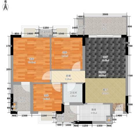保利紫薇花园3室0厅1卫1厨88.00㎡户型图