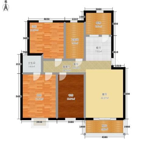天成国际花园3室1厅2卫1厨124.00㎡户型图