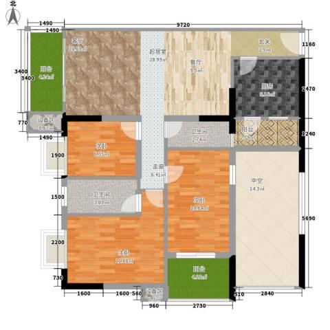 阳光都会广场3室0厅2卫1厨110.00㎡户型图
