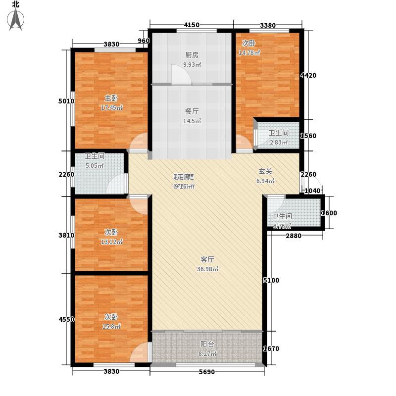 幸福家园174.24㎡四室两厅一厨三卫户型