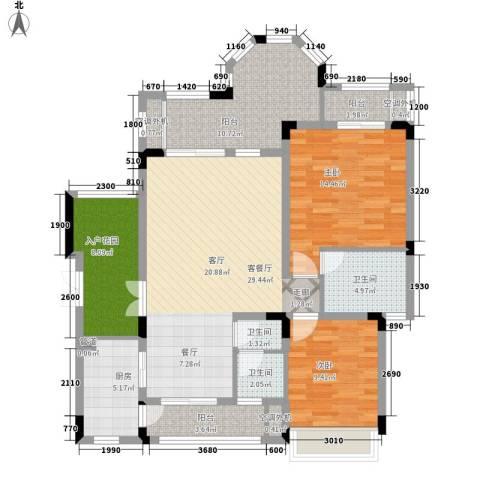 山语间爱尚2室1厅3卫1厨92.89㎡户型图