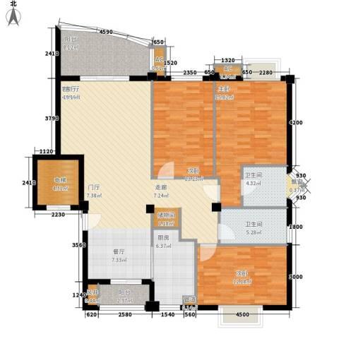 帝豪雅苑3室1厅2卫1厨119.00㎡户型图