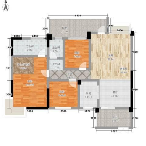 天人居3室1厅2卫1厨107.00㎡户型图