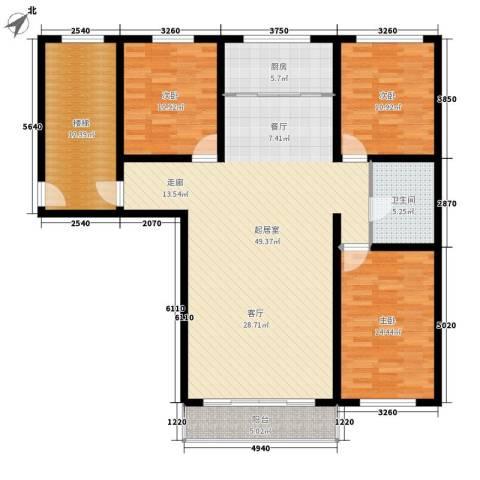 意达花园3室0厅1卫1厨128.00㎡户型图