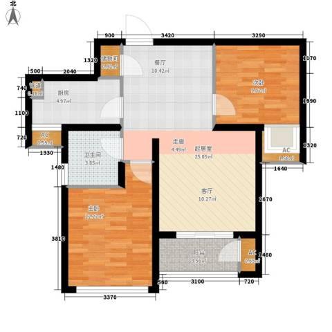 东壹区2室0厅1卫1厨72.79㎡户型图
