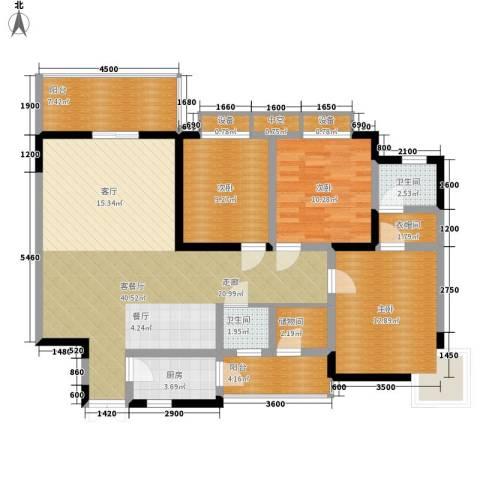 湖山花园3室1厅2卫1厨114.95㎡户型图