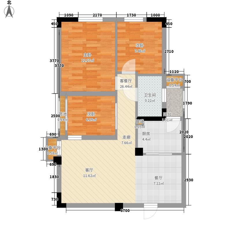 香樟林78.00㎡3#楼A装修后户型3室2厅
