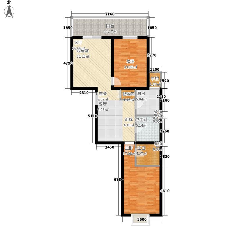 澳景花庭110.71㎡1号楼E面积11071m户型