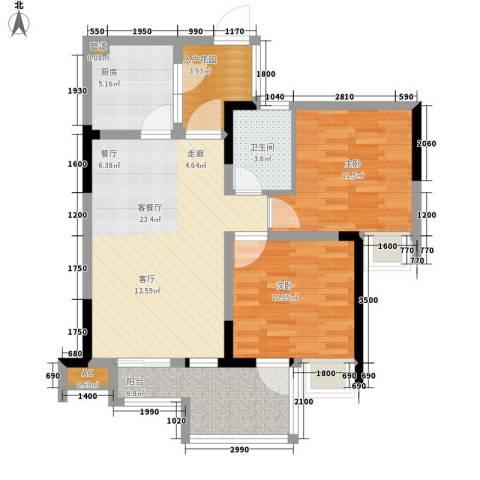 希望城2室1厅1卫1厨83.00㎡户型图