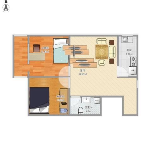 华威西里1室1厅1卫1厨61.00㎡户型图