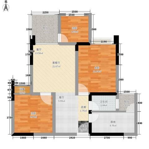 星东・上海花园3室1厅1卫1厨72.92㎡户型图