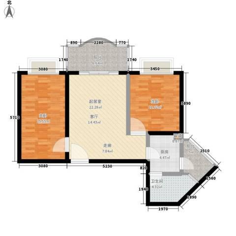 海珠信步闲庭2室0厅1卫1厨78.00㎡户型图