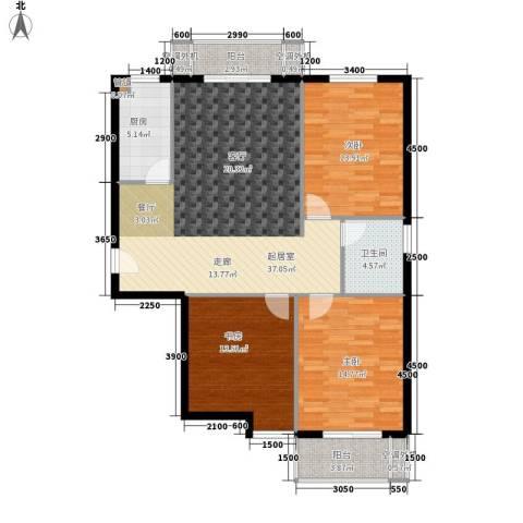东方名都3室0厅1卫1厨124.00㎡户型图